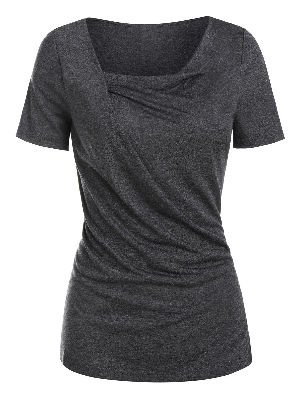 Latest Cowl Neck Draped Heathered T-shirt