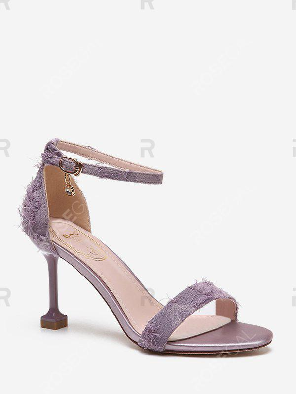 Store Frayed Vamp High Heel Ankle Strap Sandals