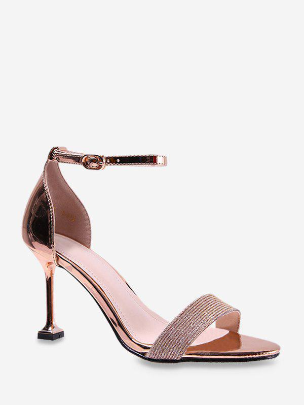 Outfit Metallic Leather High Heel Ankle Strap Sandals