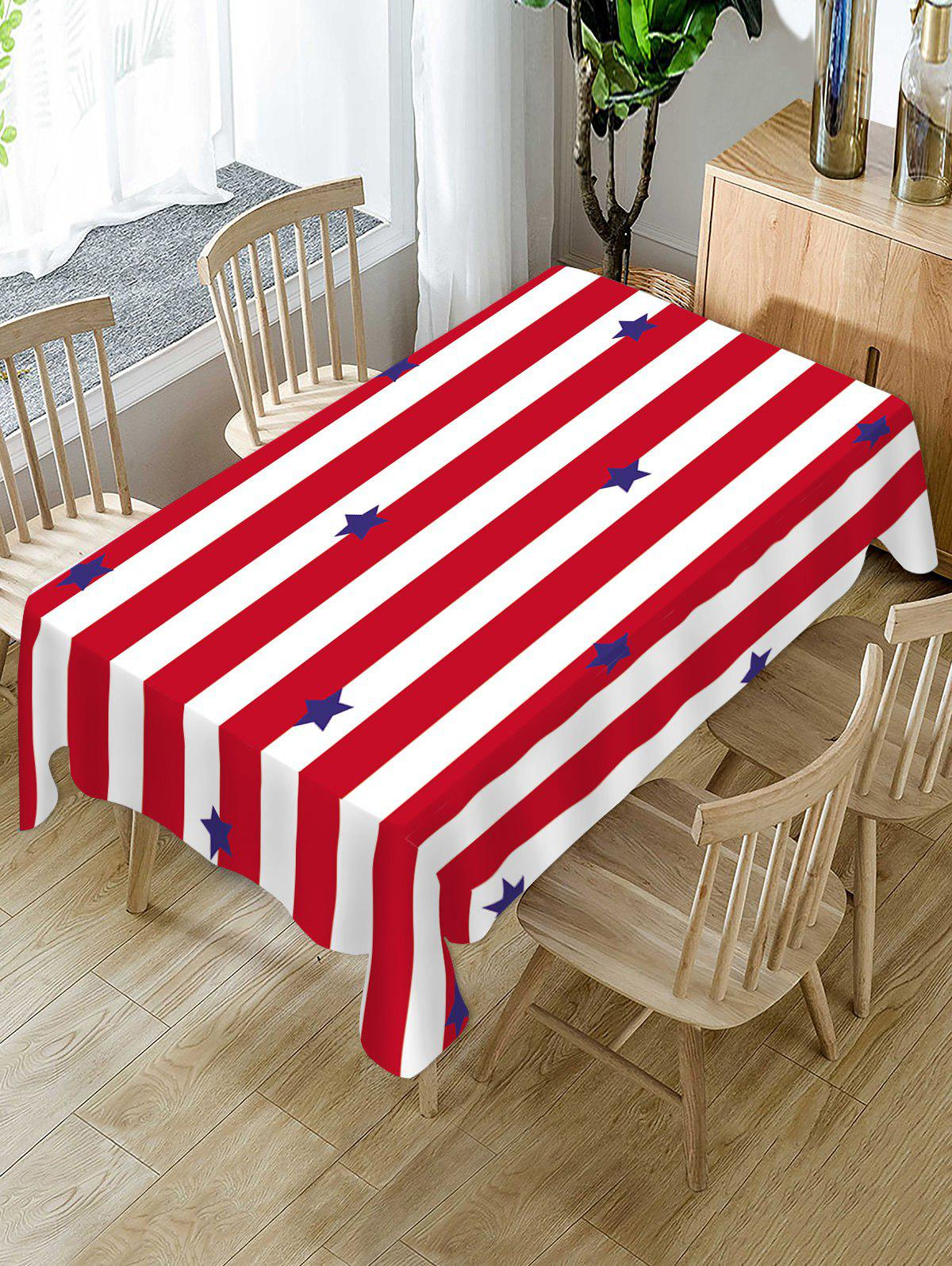 Trendy Striped and Star Print Table Cloth