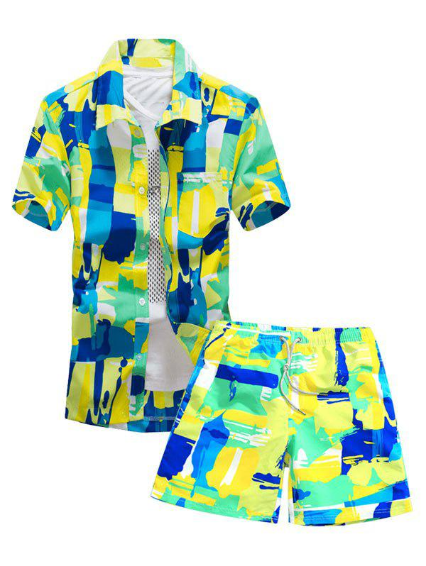 Colorful Geometric Print Pocket Shirt and Shorts фото