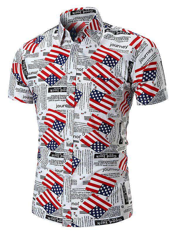 Best American Flag Letters Print Short Sleeves Shirt