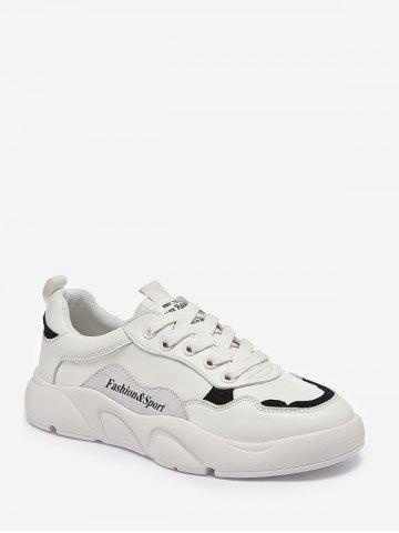 Letter Details PU Leather Casual Skate Shoes