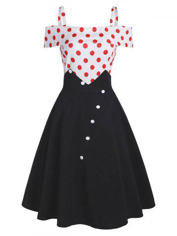 Polka Dot Button Embellished Open Shoulder Dress