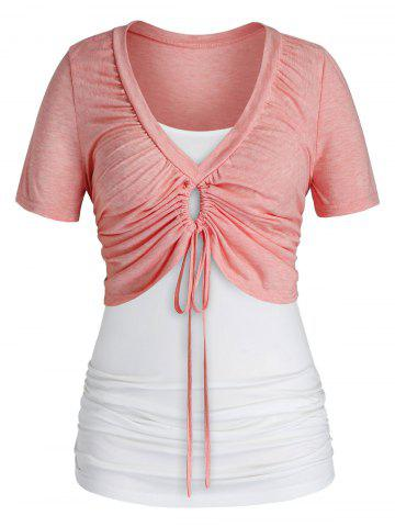 Plus Size Cinched Crop Tee and Ruched Camisole Set - PINK - 2X