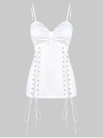 Plain Lace Up Ruched Cami Tank Top