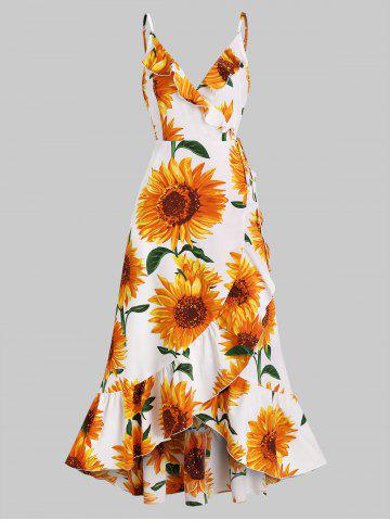 Sunflower Print Flounce Wrap Maxi Dress