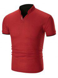 Two Tone Letter Detail Stand Collar T Shirt -