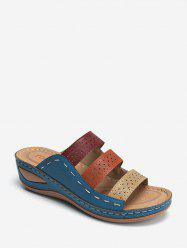 Color-blocking Hollow Out Low Heel Slides -