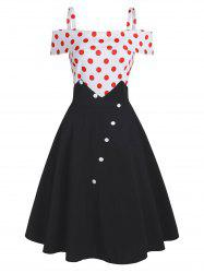 Polka Dot Button Embellished Open Shoulder Dress -