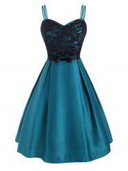 Lace Insert Dual Straps Prom Dress -