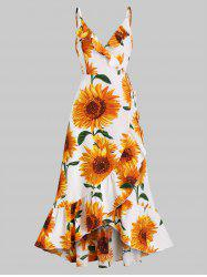 Sunflower Print Flounce Wrap Maxi Dress -