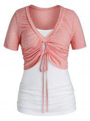 Plus Size Cinched Crop Tee and Ruched Camisole Set -