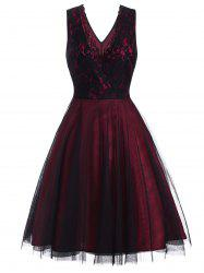 Lace Overlay Surplice Party Dress -