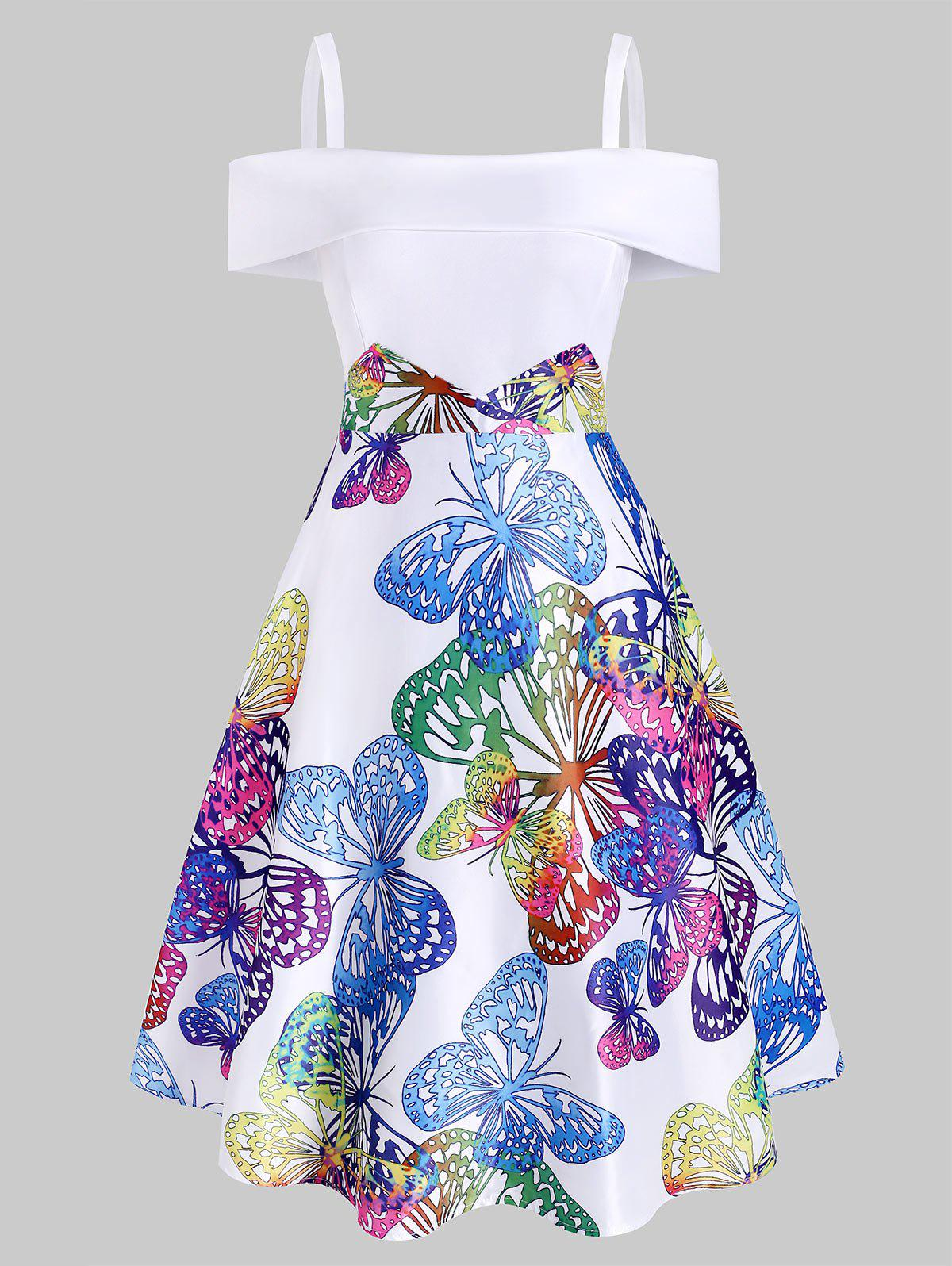 Discount Butterfly Print Foldover Cold Shoulder Dress