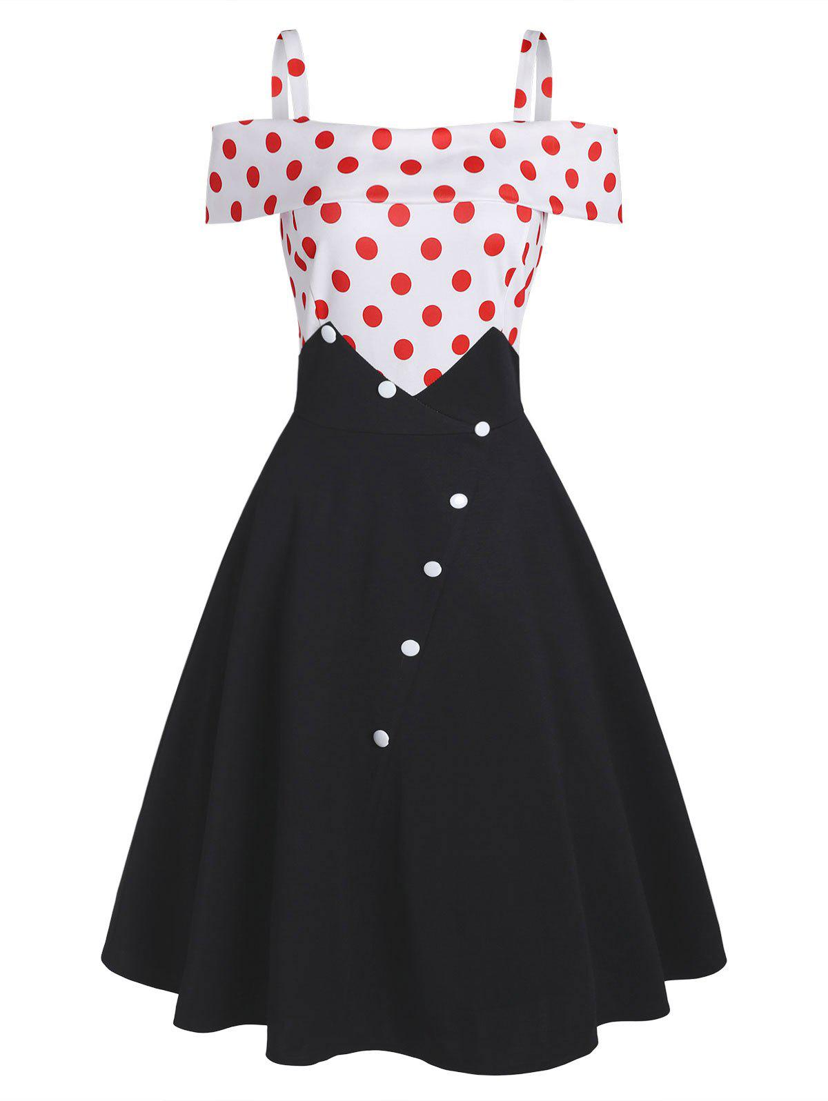 Shop Polka Dot Button Embellished Open Shoulder Dress