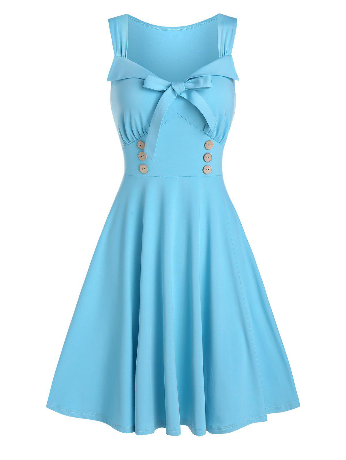 Fashion Bowknot Sweetheart Neck Sleeveless A Line Dress
