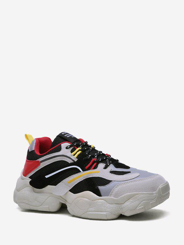 Outfit Color Block Mix Material Dad Sneakers