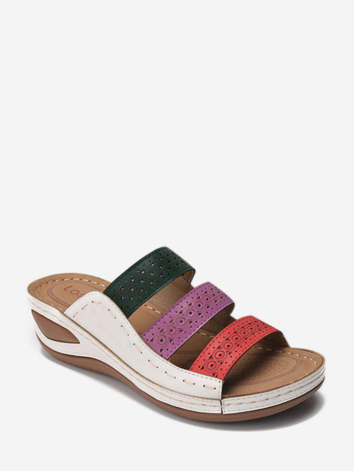 Buy Color-blocking Hollow Out Low Heel Slides