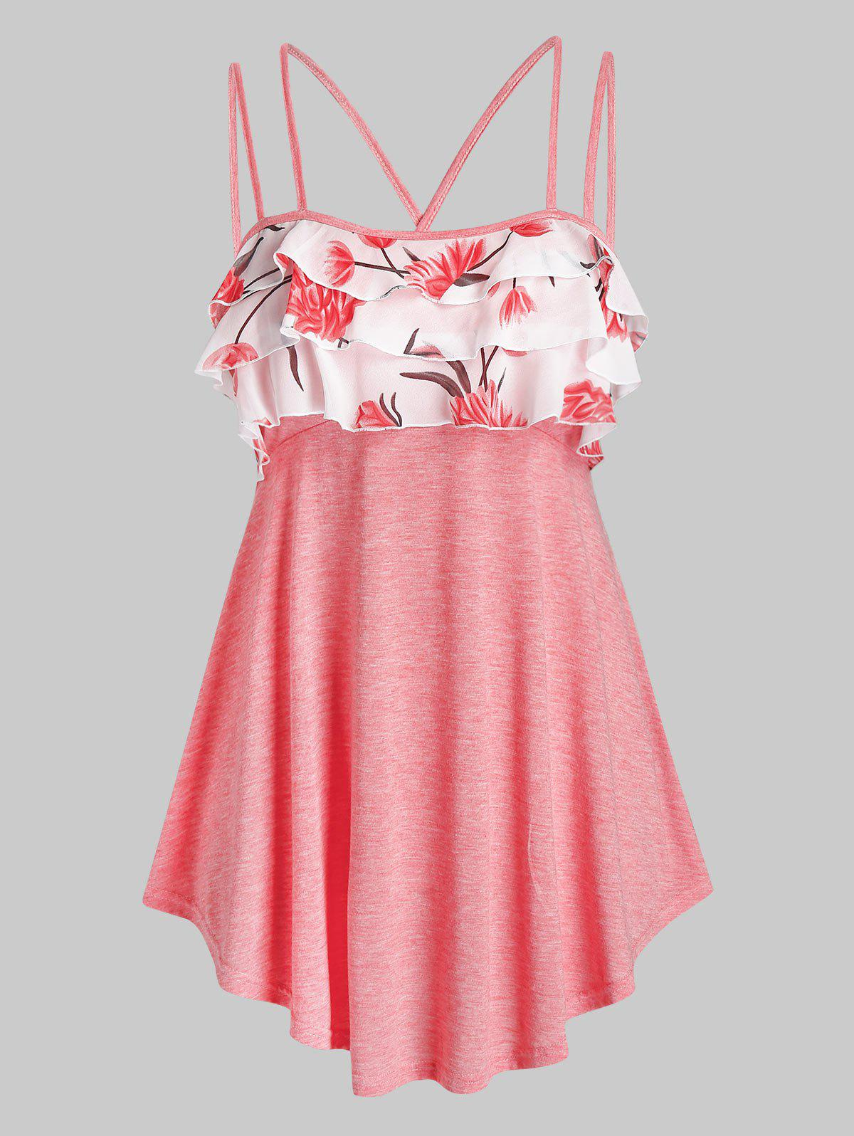 Online Plus Size Flower Layered Ruffle Dual Strap Cross Cami Top