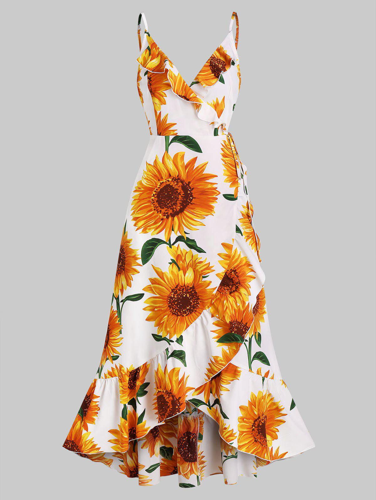 Outfit Sunflower Print Flounce Wrap Maxi Dress