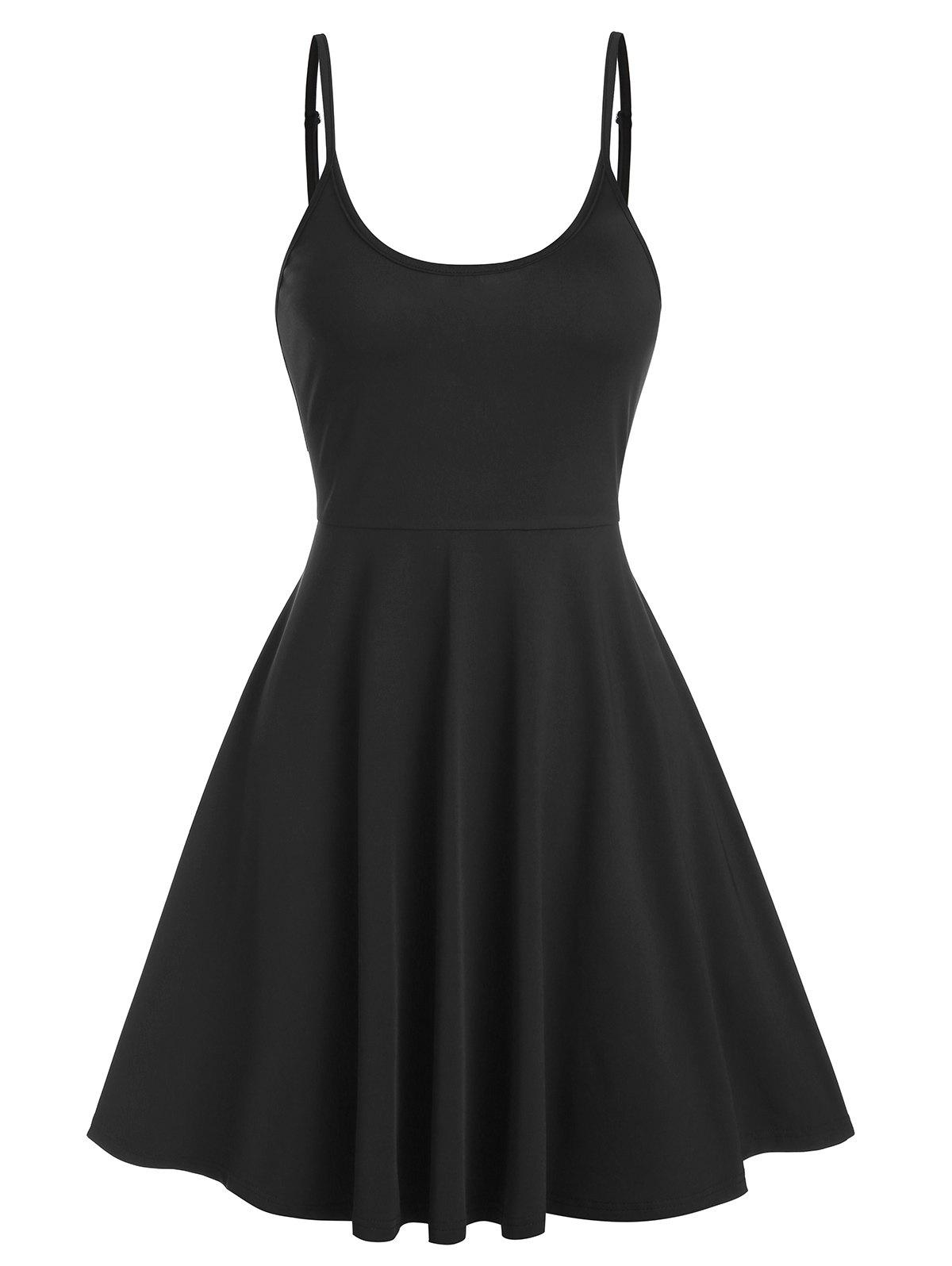 Robe Simple à Bretelle Fine Noir L