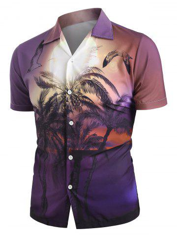 Palm Tree Landscape Print Beach Shirt - VIOLET - S