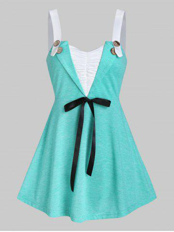 Button Bowknot Ruched Tank Top - LIGHT AQUAMARINE - M