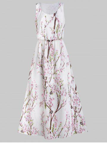 Floral Print Elastic Waist Sleeveless Maxi Dress