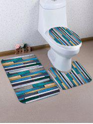 Wood Plank Pattern 3 Pcs Bathroom Toilet Mat -