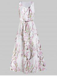 Floral Print Elastic Waist Sleeveless Maxi Dress -