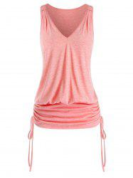 Plus Size V Neck Cinched Blouson Tank Top -