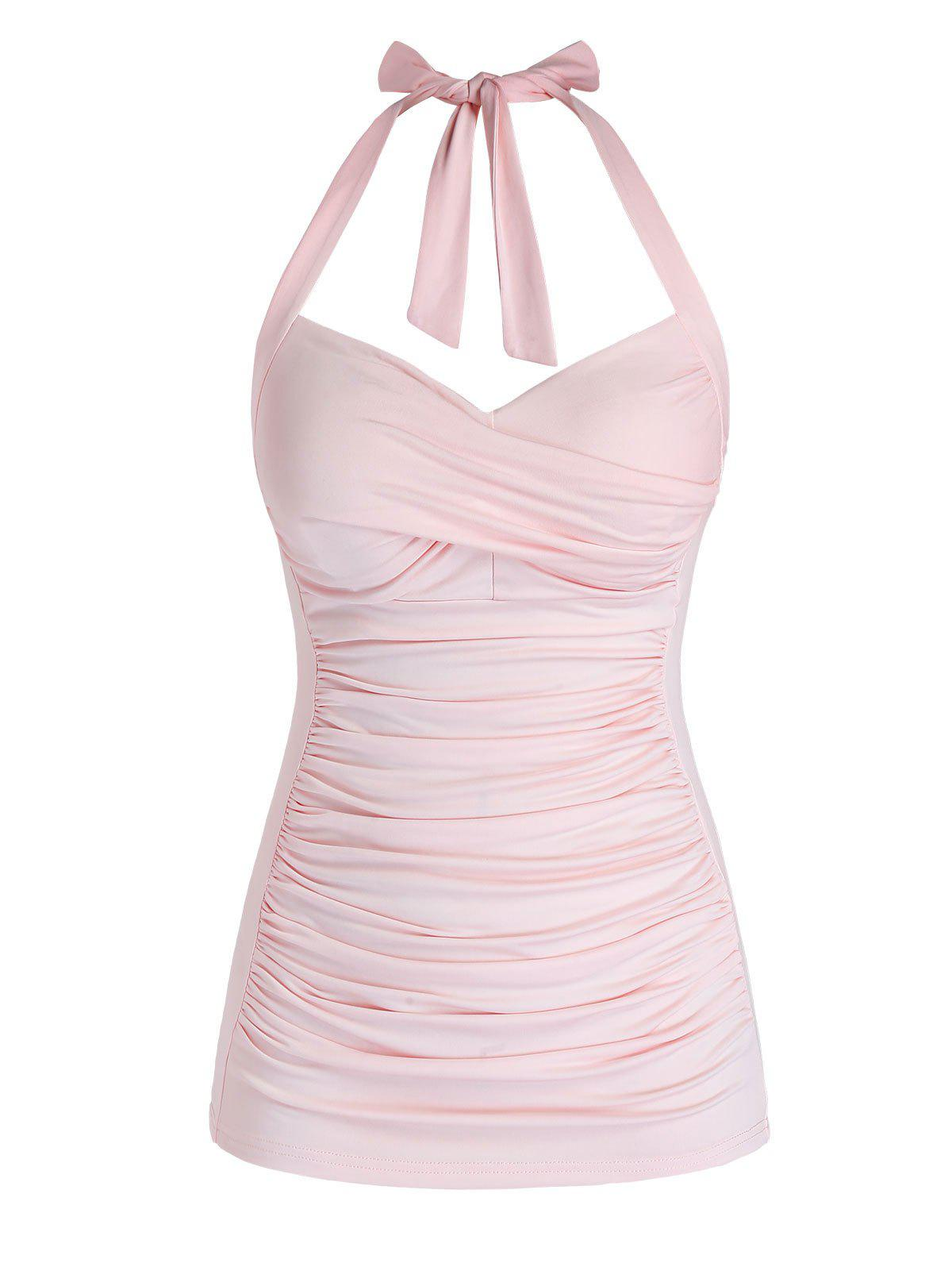 Latest Plus Size Halter Crossover Ruched Tank Top