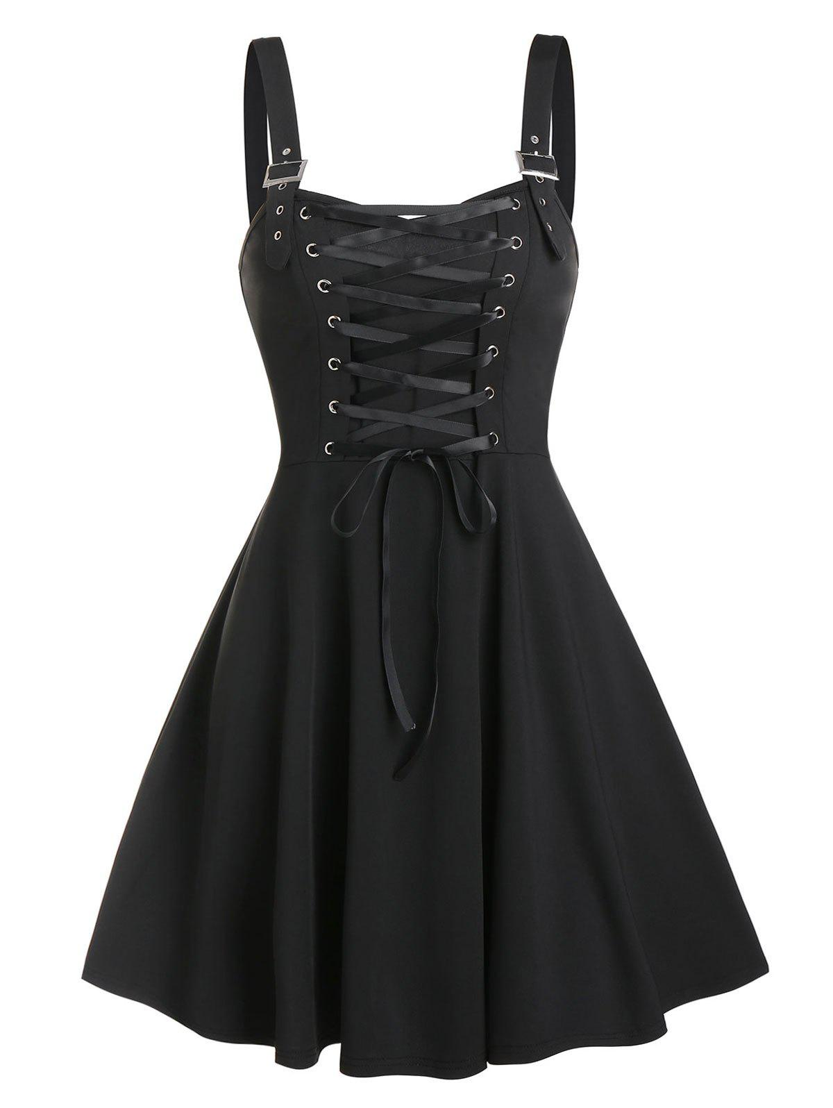 Buy Lace Up Buckle Strap A Line Dress