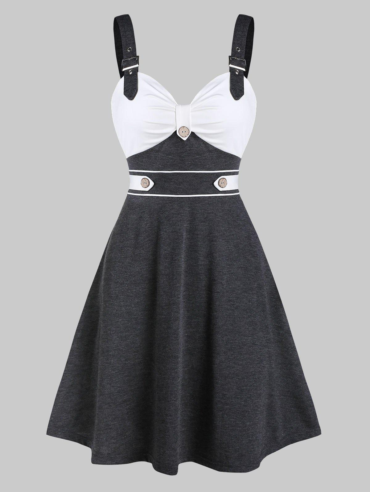 Outfit Buckle Strap Mock Button Contrast Flare Dress