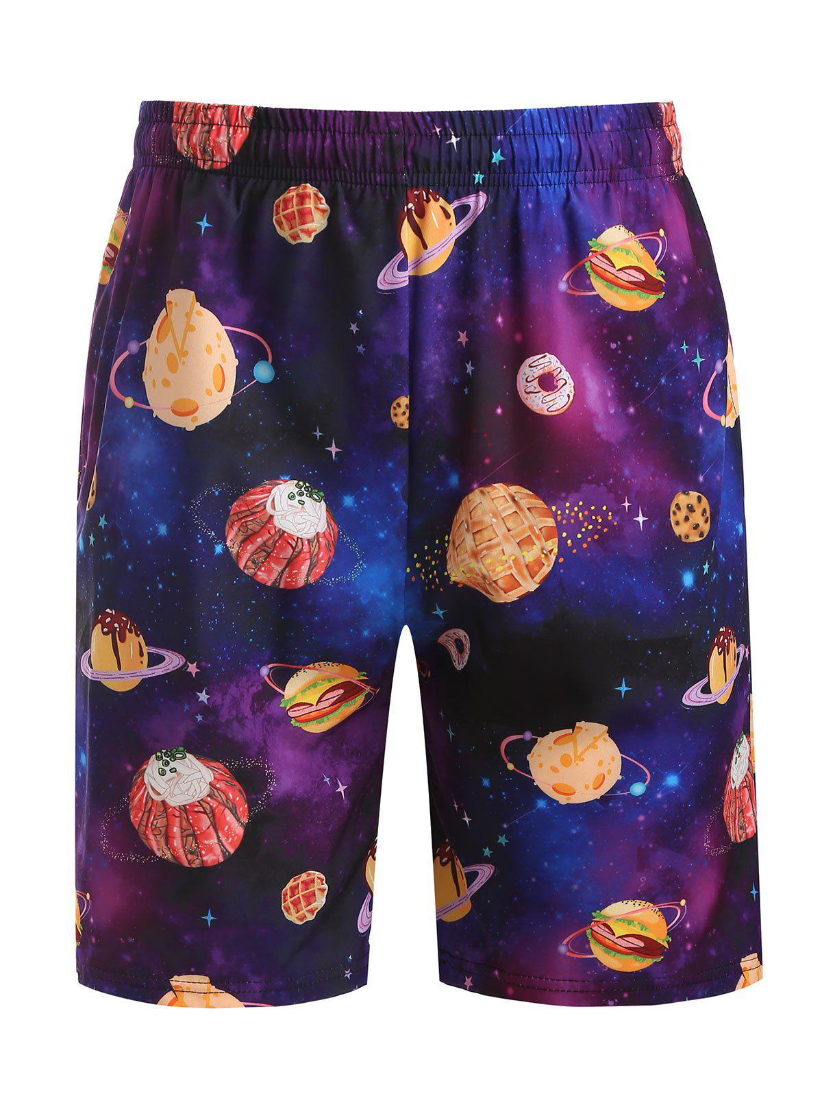 Trendy Galaxy Dessert Print Beach Shorts