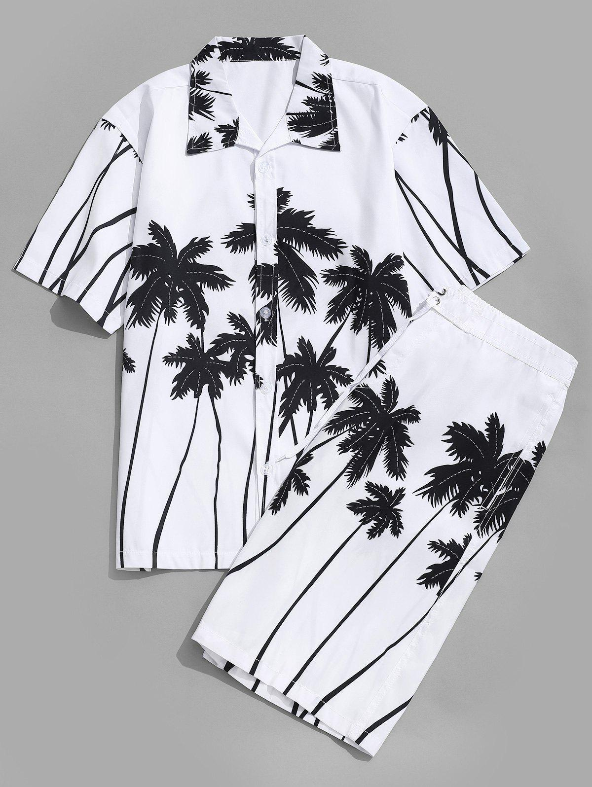Unique Coconut Palm Printed Hawaii Shirt and Beach Shorts