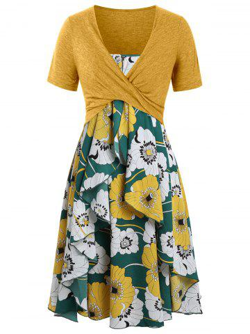 Plus Size Print Layered Midi Dress With Criss Cross Crop Top