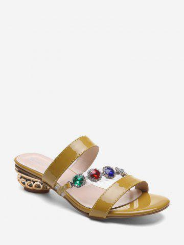 Faux Gemstone Leather Chunky Heel Slides - YELLOW - EU 38