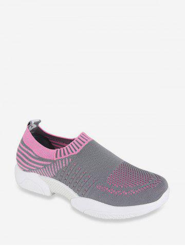 Two Tone Woven Mesh Slip On Running Sneakers