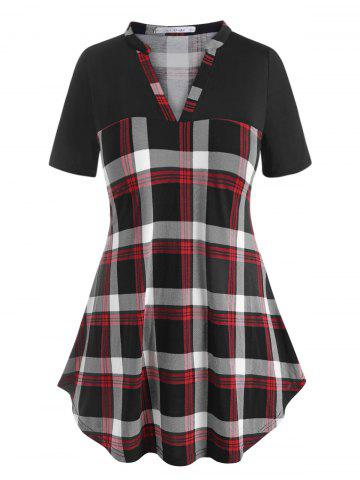 Plus Size V Neck Plaid Tunic Tee - BLACK - 4X