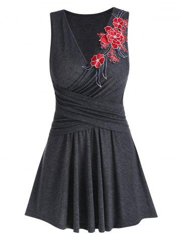 Flower Embroidered Crossover Flare Tank Top