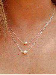 Double Layer Faux Pearl Chain Necklace -