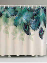 Leaf Peacock Feathers Print Decorative Shower Curtain -