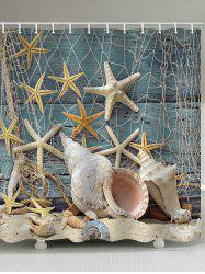 Beachside Starfish Shell Print Shower Curtain -
