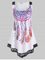 Plus Size Feather Print Lace Insert Tank Top -