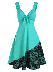 Flower Lace Panel O-ring Sleeveless Dress -