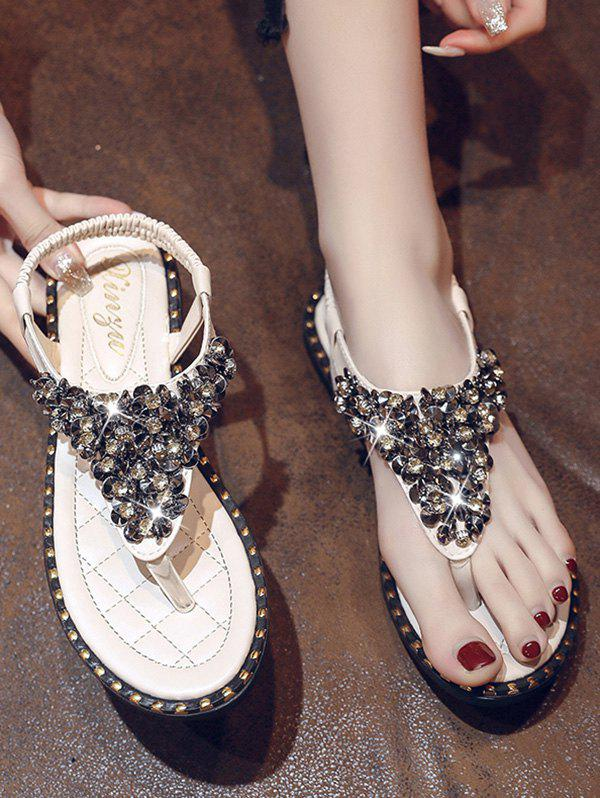 Outfit Rhinestone Elastic T-strap Post Thong Flat Sandals