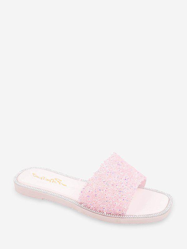 New Flat Sequined Slides Sandals