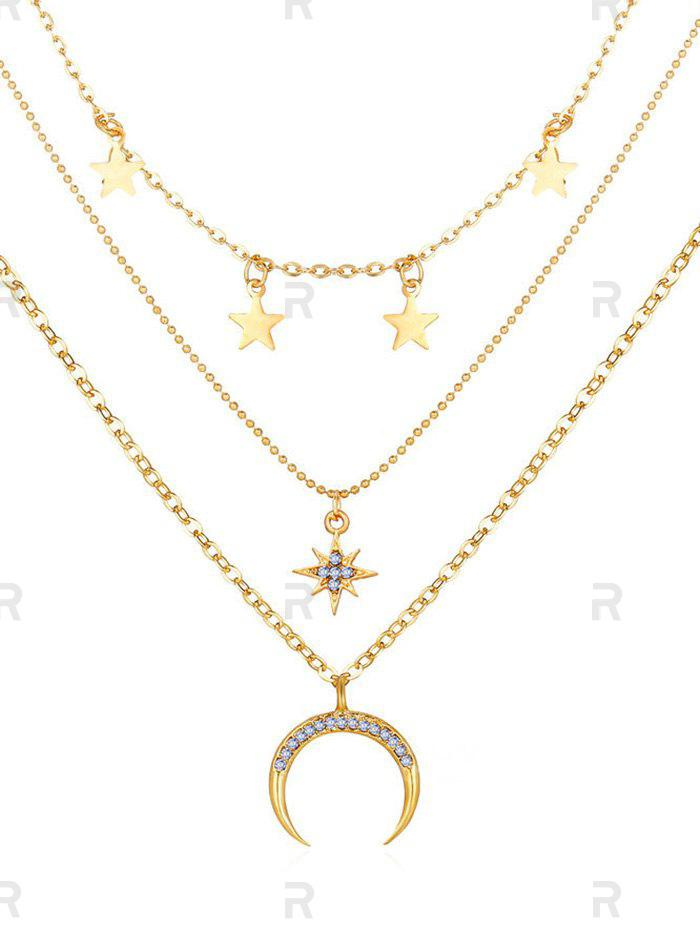 Moon Stars Pattern Pendant Multi-layer Necklace, Gold